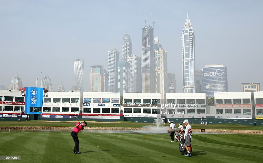Scott Jamieson of Scotland on the par five 18th hole during the first round of the Omega Dubai Desert Classic on January 31, 2013 in Dubai, United Arab Emirates.