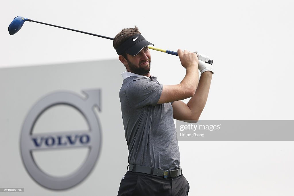 Scott Jamieson of Scotland plays a shot during the second round of the Volvo China open at Topwin Golf and Country Club on April 28, 2016 in Beijing, China.