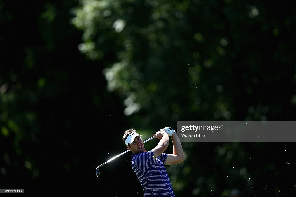 Scott Jamieson of Scotland plays his second shot on the 11th hole during the first round of the Alfred Dunhill Championship at Leopard Creek Country Golf Club on December 13, 2012 in Malelane, South Africa.