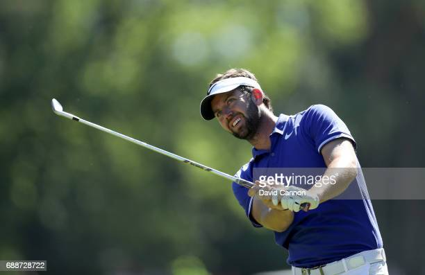 Scott Jamieson of Scotland plays his second shot on the par 4 15th hole during the second round of the 2017 BMW PGA Championship on the West Course...