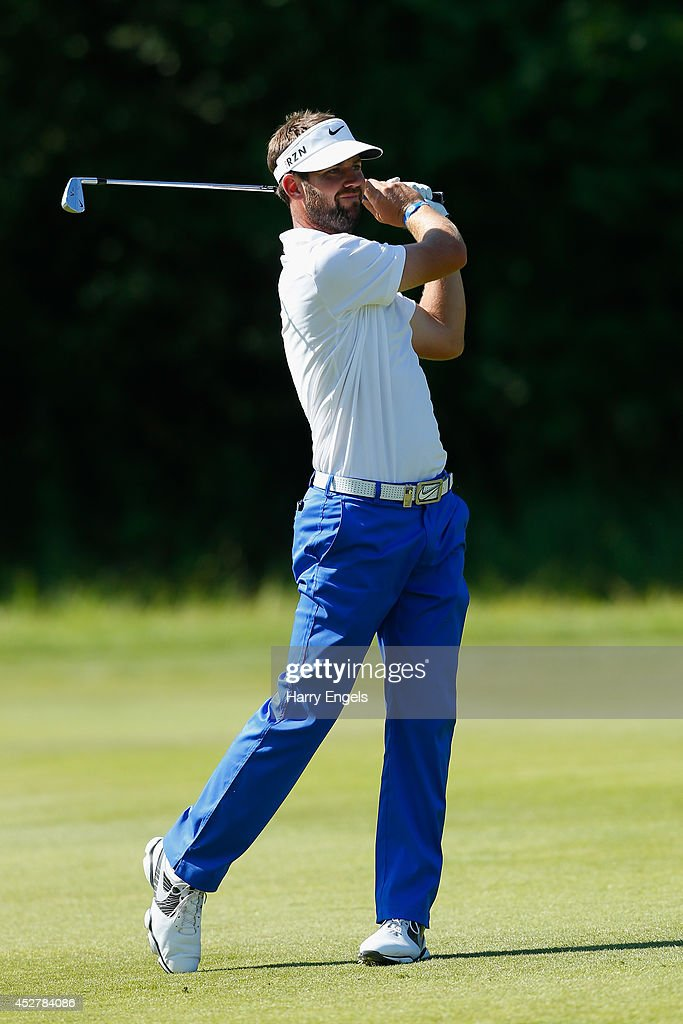 Scott Jamieson of Scotland plays off the fairway at the eighteenth on day four of the M2M Russian Open at Tseleevo Golf & Polo Club on July 27, 2014 in Moscow, Russia.