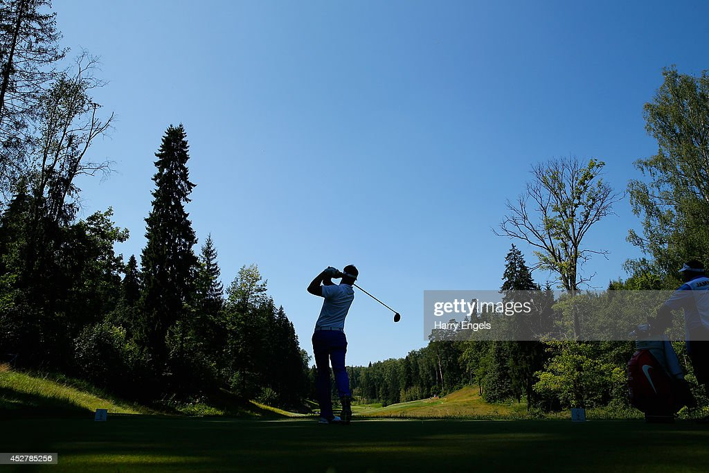 Scott Jamieson of Scotland tees off at the twelfth on day four of the M2M Russian Open at Tseleevo Golf & Polo Club on July 27, 2014 in Moscow, Russia.