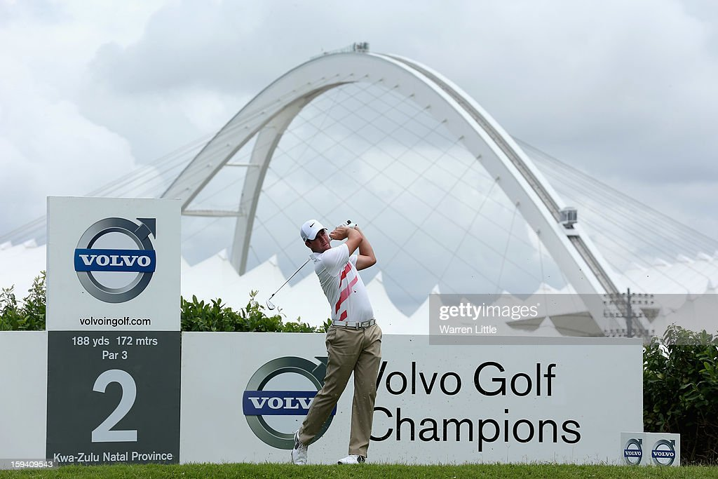 Scott Jamieson of Scotland tees off on the second hole during the final round of the Volvo Golf Champions at Durban Country Club on January 13, 2013 in Durban, South Africa.