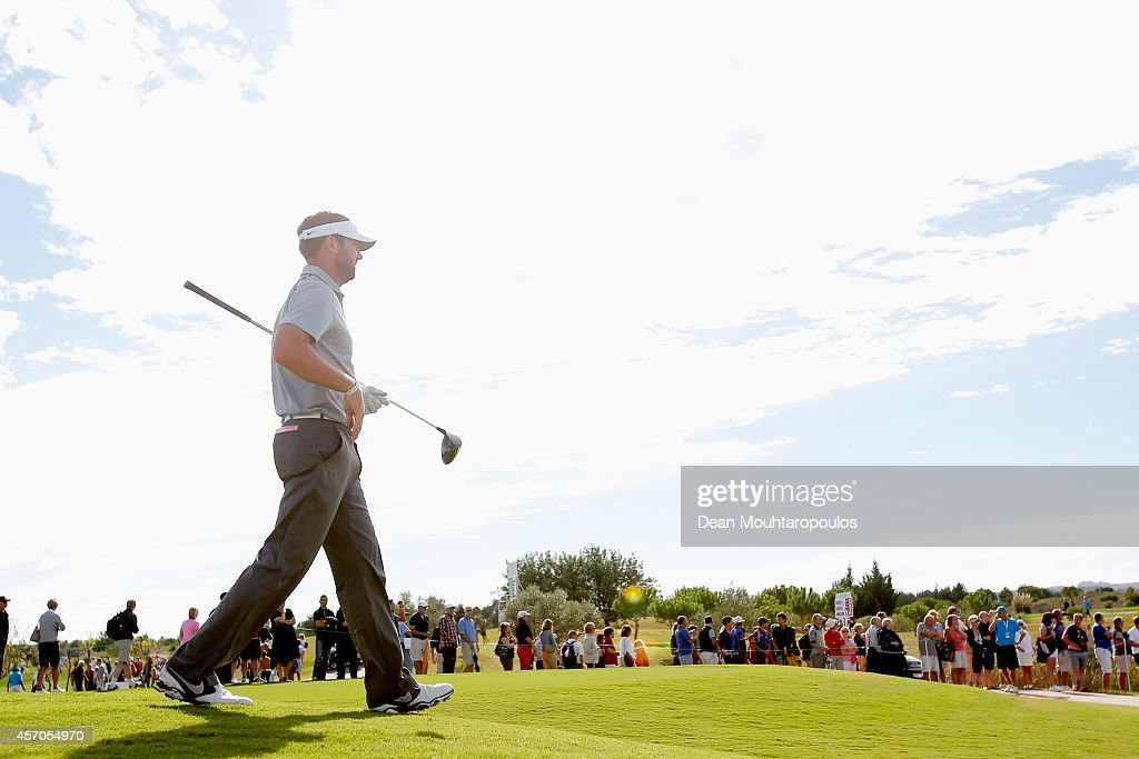 Scott Jamieson of Scotland walks after he hits his tee shot on the 18th hole during Day 3 of the Portugal Masters held at the Oceanico Victoria Golf...