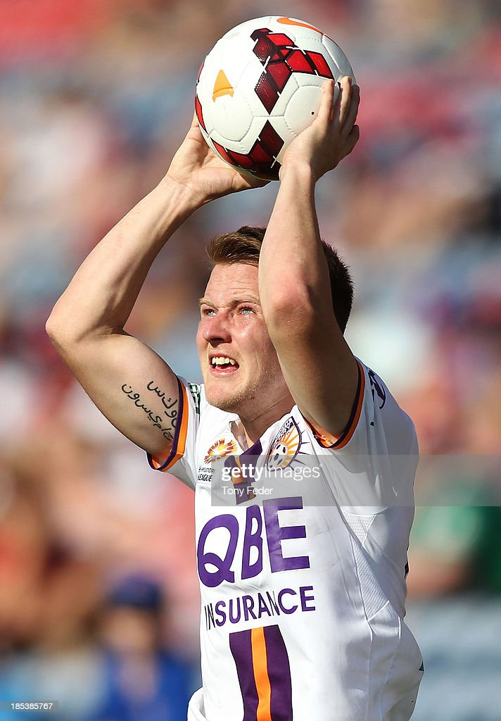 Scott Jamieson of the Glory about to throw in the ball during the round two A-League match between the Newcastle Jets and the Perth Glory at Hunter Stadium on October 20, 2013 in Newcastle, Australia.