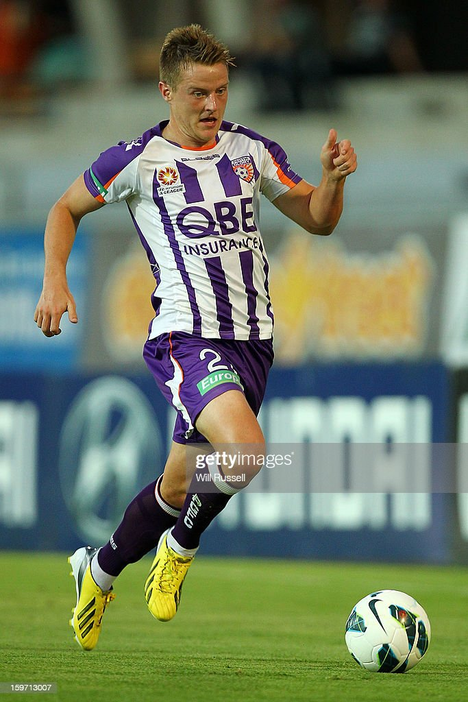 Scott Jamieson of the Glory controls the ball during the round 17 A-League match between the Perth Glory and the Melbourne Victory at nib Stadium on January 19, 2013 in Perth, Australia.