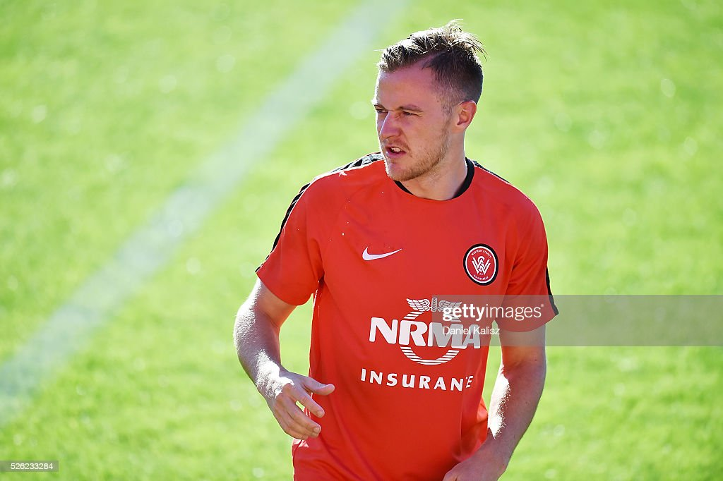 Scott Jamieson of the Wanderers looks on during a Western Sydney Wanderers A-League training session at Coopers Stadium on April 30, 2016 in Adelaide, Australia.