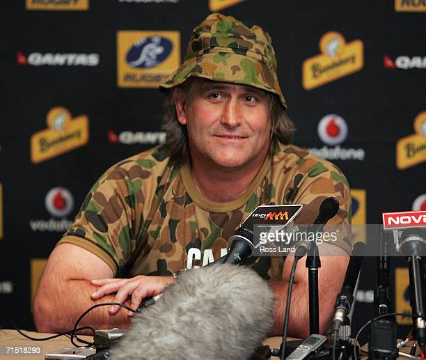 Scott Johnson attack Coach of the Wallabies wears camoflage gear at a media session at the team hotel on July 26 2006 in Brisbane Australia New...
