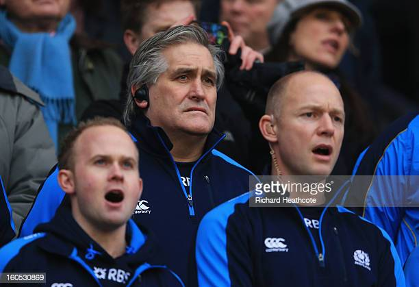 Scott Johnson interim head coach of Scotland looks on prior to the RBS Six Nations match between England and Scotland at Twickenham Stadium on...