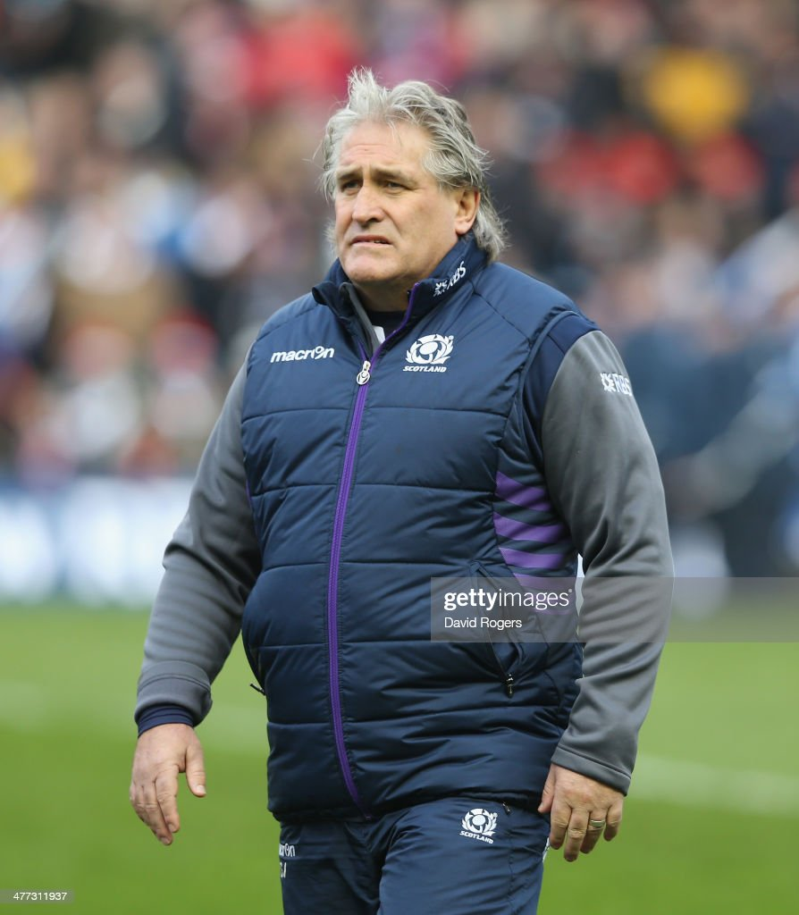 <a gi-track='captionPersonalityLinkClicked' href=/galleries/search?phrase=Scott+Johnson&family=editorial&specificpeople=586938 ng-click='$event.stopPropagation()'>Scott Johnson</a>, the Scotland coach looks on during the RBS Six Nations match between Scotland and France at Murrayfield Stadium on March 8, 2014 in Edinburgh, Scotland.