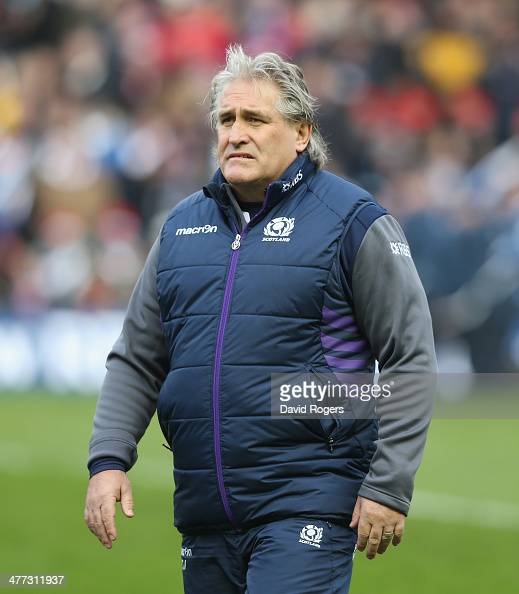 Scott Johnson the Scotland coach looks on during the RBS Six Nations match between Scotland and France at Murrayfield Stadium on March 8 2014 in...