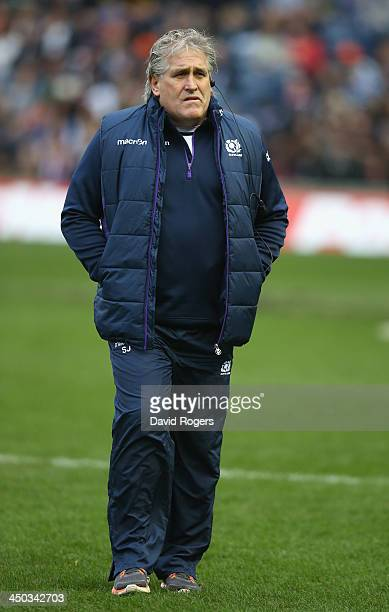 Scott Johnson the Scotland head coach looks on during the International match between Scotland and South Africa at Murrayfield Stadium on November 17...