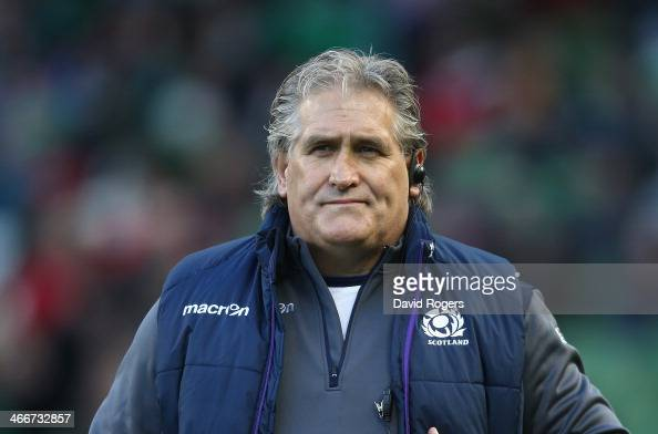 Scott Johnson the Scotland head coach looks on during the RBS Six Nations match between Ireland and Scotland at the Aviva Stadium on February 2 2014...