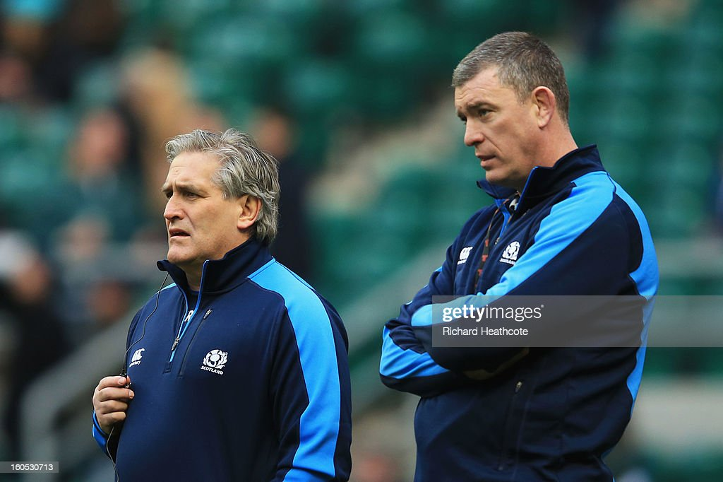 Scott Johnson the Scotland interim head and Dean Ryan the Scotland interim forwards coach look on prior to kickoff during the RBS Six Nations match between England and Scotland at Twickenham Stadium on February 2, 2013 in London, England.