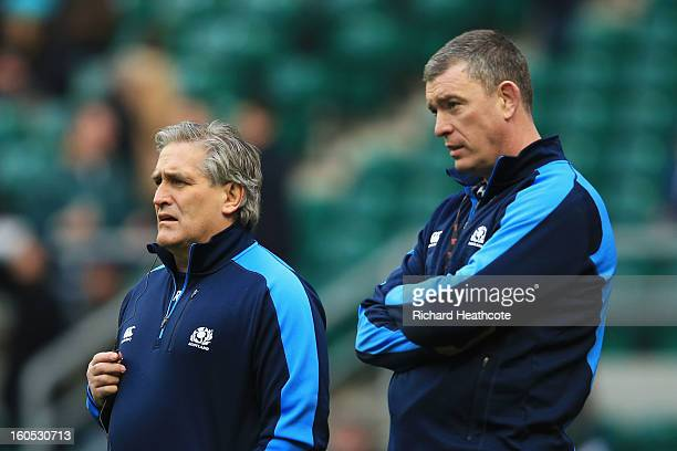 Scott Johnson the Scotland interim head and Dean Ryan the Scotland interim forwards coach look on prior to kickoff during the RBS Six Nations match...