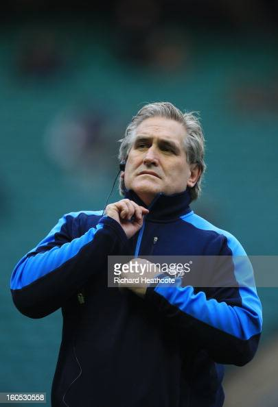 Scott Johnson the Scotland interim head coach looks on prior to kickoff during the RBS Six Nations match between England and Scotland at Twickenham...
