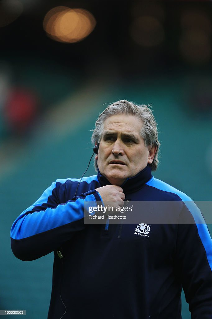 Scott Johnson the Scotland interim head coach looks on prior to kickoff during the RBS Six Nations match between England and Scotland at Twickenham Stadium on February 2, 2013 in London, England.