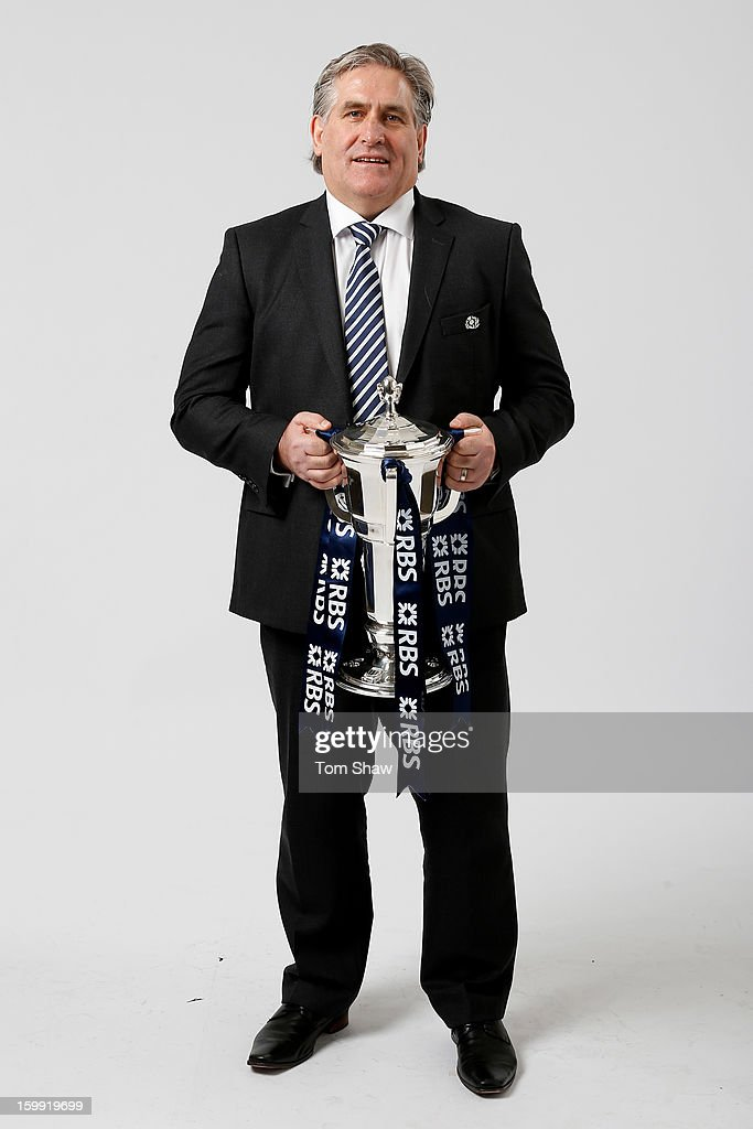 Scott Johnson the Scotland interim head coach poses with the Six Nations trophy during the RBS Six Nations launch at The Hurlingham Club on January 23, 2013 in London, England.