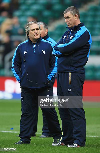 Scott Johnson the Scotland interim head speaks with Dean Ryan the Scotland interim forwards coach look on prior to kickoff during the RBS Six Nations...