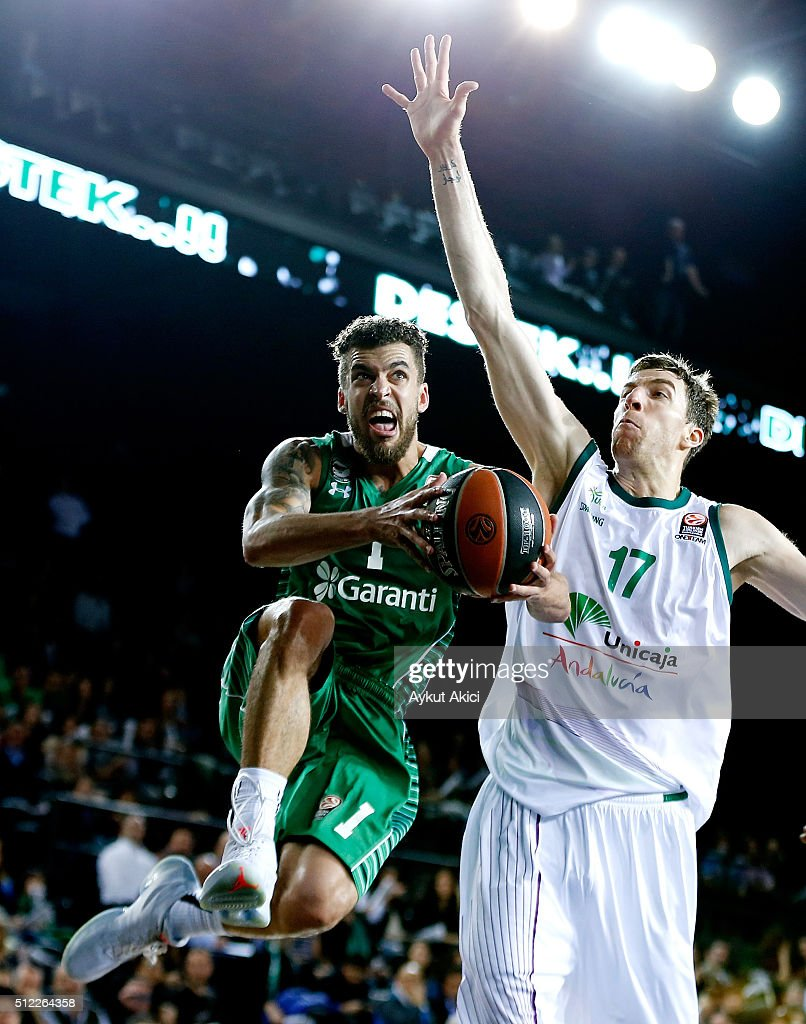 Scott Jordan Wilbekin, #1 of Darussafaka Dogus Istanbul competes with Fran Vazquez, #17 of Unicaja Malaga in action during the 2015-2016 Turkish Airlines Euroleague Basketball Top 16 Round 8 game between Darussafaka Dogus Istanbul v Unicaja Malaga at Volkswagen Arena on February 25, 2016 in Istanbul, Turkey.