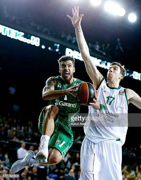 Scott Jordan Wilbekin #1 of Darussafaka Dogus Istanbul competes with Fran Vazquez #17 of Unicaja Malaga in action during the 20152016 Turkish...