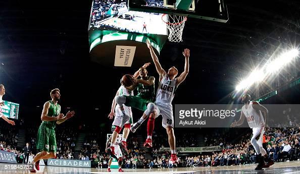 Scott Jordan Wilbekin #1 of Darussafaka Dogus Istanbul in action during the 20152016 Turkish Airlines Euroleague Basketball Top 16 Round 14 game...