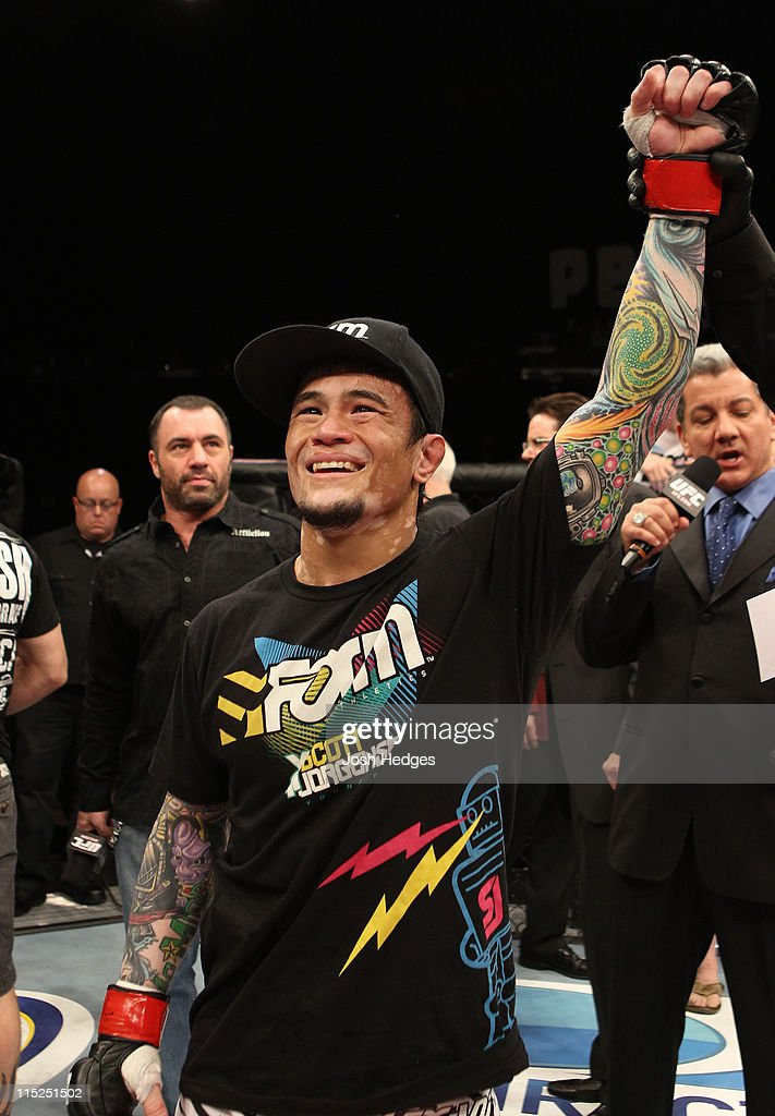 Scott Jorgensen celebrates his knockout victory over Ken Stone bantamweight fight at the Ultimate Fighter Season 13 Finale at the Pearl at the Palms on June 4, 2011 in Las Vegas, Nevada.