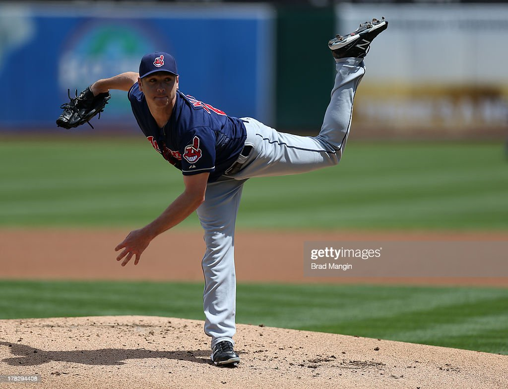 <a gi-track='captionPersonalityLinkClicked' href=/galleries/search?phrase=Scott+Kazmir&family=editorial&specificpeople=217724 ng-click='$event.stopPropagation()'>Scott Kazmir</a> #26 of the Cleveland Indians pitches during the game against the Oakland Athletics on Sunday, August 18, 2013 at O.co Coliseum in Oakland, California.