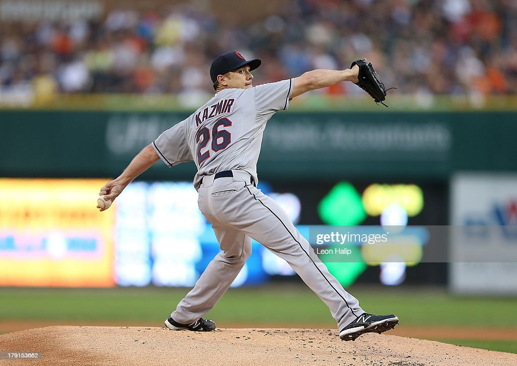 <a gi-track='captionPersonalityLinkClicked' href=/galleries/search?phrase=Scott+Kazmir&family=editorial&specificpeople=217724 ng-click='$event.stopPropagation()'>Scott Kazmir</a> #26 of the Cleveland Indians pitches in the first inning of the game against the Detroit Tigers at Comerica Park on August 31, 2013 in Detroit, Michigan.