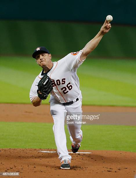 Scott Kazmir of the Houston Astros throws a pitch in the first inning against the Los Angeles Angels of Anaheim during their game at Minute Maid Park...