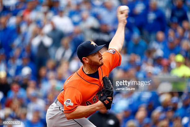 Scott Kazmir of the Houston Astros throws a pitch in the first inning against the Kansas City Royals during game two of the American League Division...