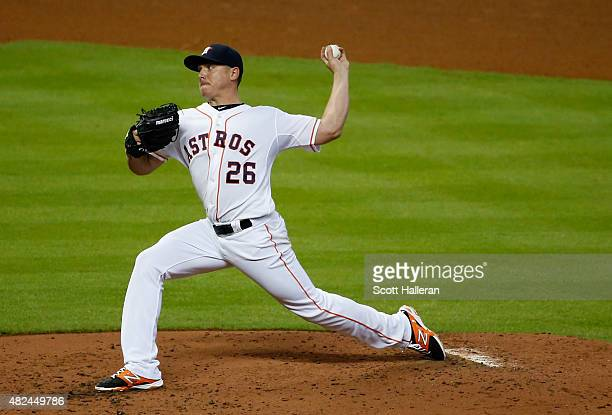 Scott Kazmir of the Houston Astros throws a pitch in the fourth inning against the Los Angeles Angels of Anaheim during their game at Minute Maid...