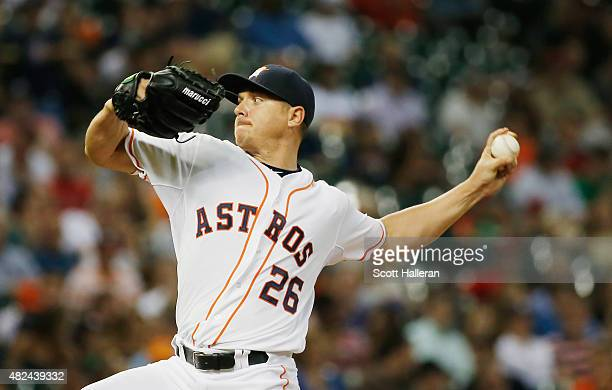 Scott Kazmir of the Houston Astros throws a pitch in the third inning against the Los Angeles Angels of Anaheim during their game at Minute Maid Park...