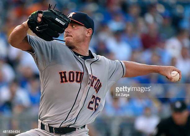 Scott Kazmir of the Houston Astros throws against the Kansas City Royals in the first inning at Kauffman Stadium on July 24 2015 in Kansas City...