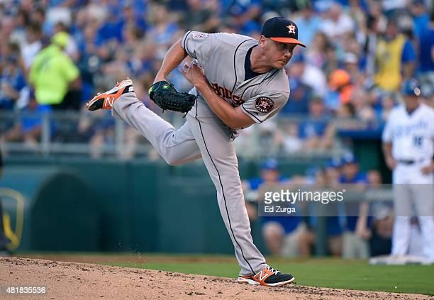 Scott Kazmir of the Houston Astros throws in the third inning against the Kansas City Royals at Kauffman Stadium on July 24 2015 in Kansas City...