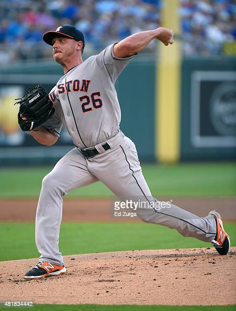 Scott Kazmir of the Houston Astros warms up prior to throwing against the Kansas City Royals in the first inning at Kauffman Stadium on July 24 2015...