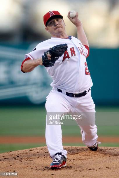 Scott Kazmir of the Los Angeles Angels of Anaheim pitches against the New York Yankees during the first inning in Game Four of the ALCS during the...