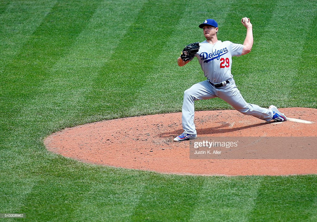 <a gi-track='captionPersonalityLinkClicked' href=/galleries/search?phrase=Scott+Kazmir&family=editorial&specificpeople=217724 ng-click='$event.stopPropagation()'>Scott Kazmir</a> #29 of the Los Angeles Dodgers pitches in the third inning during the game against the Pittsburgh Pirates at PNC Park on June 27, 2016 in Pittsburgh, Pennsylvania.