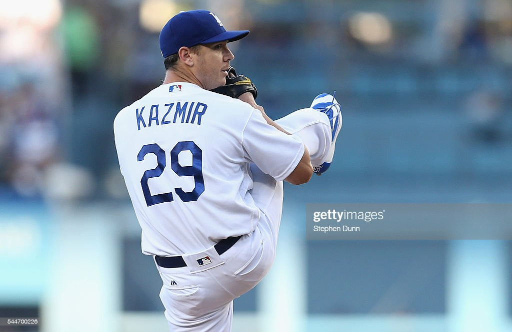 Scott Kazmir #29 of the Los Angeles Dodgers throws a pitch against the Colorado Rockies at Dodger Stadium on July 2, 2016 in Los Angeles, California.