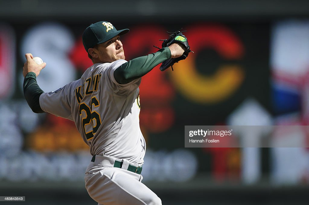 <a gi-track='captionPersonalityLinkClicked' href=/galleries/search?phrase=Scott+Kazmir&family=editorial&specificpeople=217724 ng-click='$event.stopPropagation()'>Scott Kazmir</a> #26 of the Oakland Athletics delivers a pitch against the Minnesota Twins during the game on April 7, 2014 at Target Field in Minneapolis, Minnesota. The Athletics defeated the Twins 8-3.