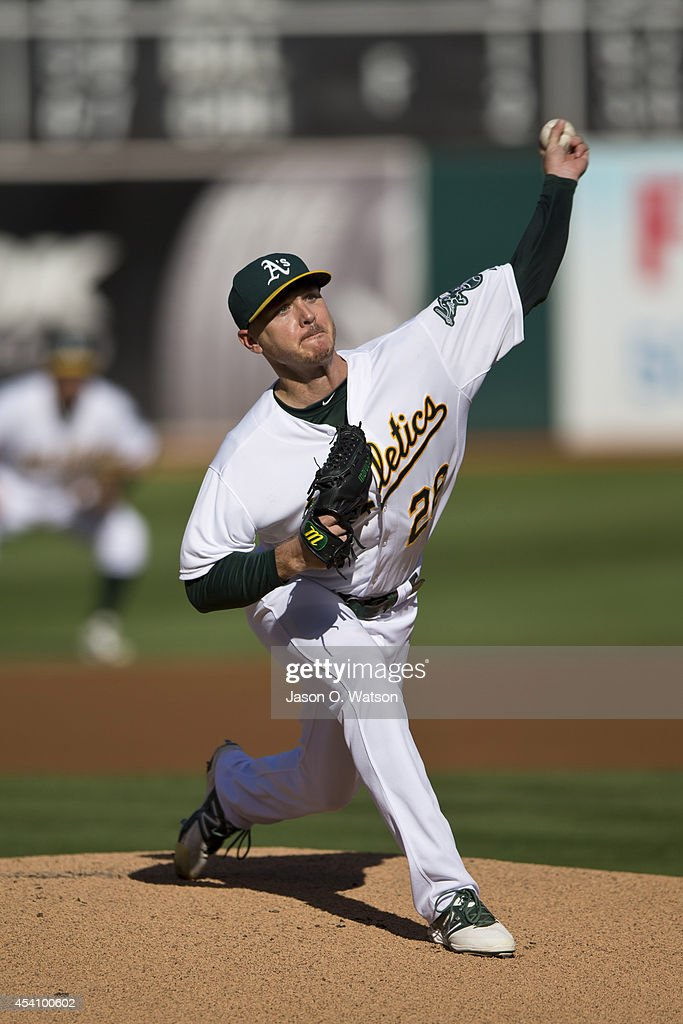 <a gi-track='captionPersonalityLinkClicked' href=/galleries/search?phrase=Scott+Kazmir&family=editorial&specificpeople=217724 ng-click='$event.stopPropagation()'>Scott Kazmir</a> #26 of the Oakland Athletics pitches against the Los Angeles Angels of Anaheim during the first inning at O.co Coliseum on August 24, 2014 in Oakland, California.