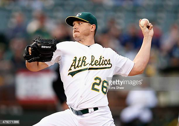 Scott Kazmir of the Oakland Athletics pitches against the Seattle Mariners in the first inning at Oco Coliseum on July 2 2015 in Oakland California