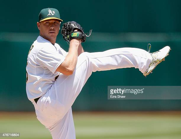 Scott Kazmir of the Oakland Athletics pitches against the Texas Rangers in the second inning at Oco Coliseum on June 11 2015 in Oakland California