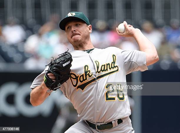 Scott Kazmir of the Oakland Athletics pitches during the first inning of a baseball game against the San Diego Padres at Petco Park June 16 2015 in...