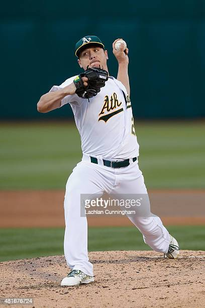 Scott Kazmir of the Oakland Athletics pitches in the fourth inning against the Minnesota Twins at Oco Coliseum on July 18 2015 in Oakland California