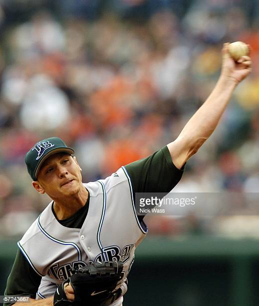 Scott Kazmir of the Tampa Bay Devil Rays delivers a pitch against the Baltimore Orioles on Opening Day on April 3 at Oriole Park at Camden Yards in...