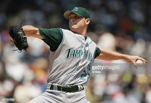 Scott Kazmir of the Tampa Bay Devil Rays pitches against the New York Yankees during their game June 22 2005 at Yankee Stadium in the Bronx borough...