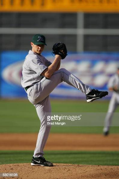Scott Kazmir of the Tampa Bay Devil Rays pitches during the game against the Oakland Athletics at McAfee Coliseum on May 30 2005 in Oakland...