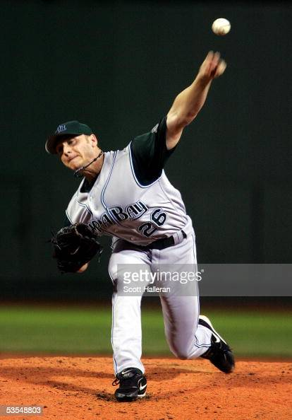 Scott Kazmir of the Tampa Bay Devil Rays pitches in the second inning against the Boston Red Sox on August 30 2005 at Fenway Park in Boston...