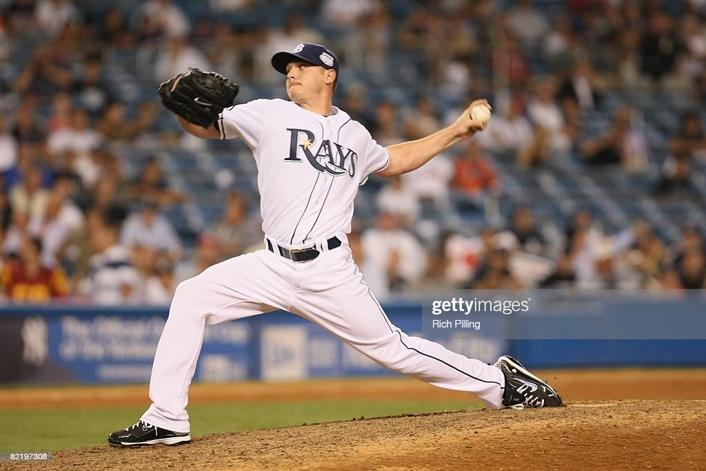 Scott Kazmir #19 of the Tampa Bay Rays pitches during the 79th MLB All-Star Game at the Yankee Stadium in the Bronx, New York on July 15, 2008. The American League defeated the National League 4-3.
